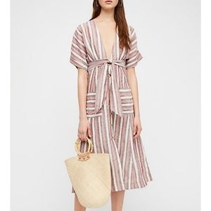 Free People Striped Linen Monday Midi Dress